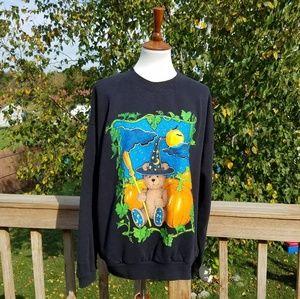 Vintage Halloween Teddy Bear Pumpkin Sweatshirt